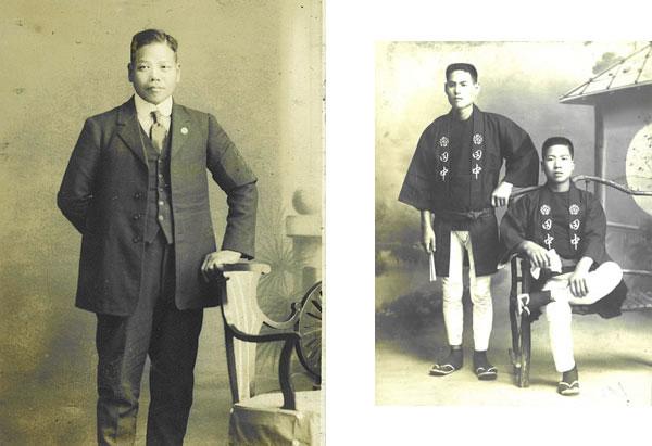 初代田中竹丸の写真、明治時代の畳職人の写真